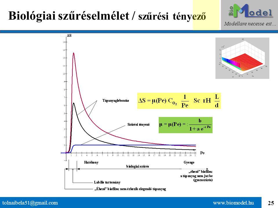25 Biológiai szűréselmélet / szűrési tényező tolnaibela51@gmail.com www.biomodel.hu Modellare necesse est…