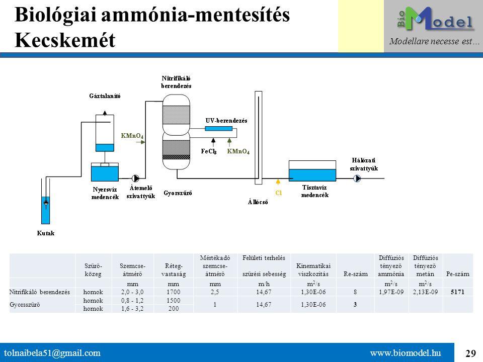 29 Biológiai ammónia-mentesítés Kecskemét tolnaibela51@gmail.com www.biomodel.hu Modellare necesse est… Szűrő- közeg Szemcse- átmérő Réteg- vastaság M