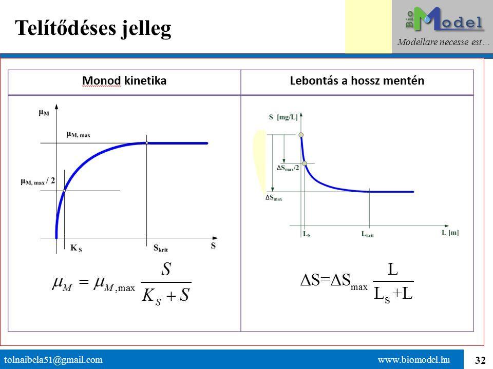 32 Telítődéses jelleg tolnaibela51@gmail.com www.biomodel.hu Modellare necesse est…