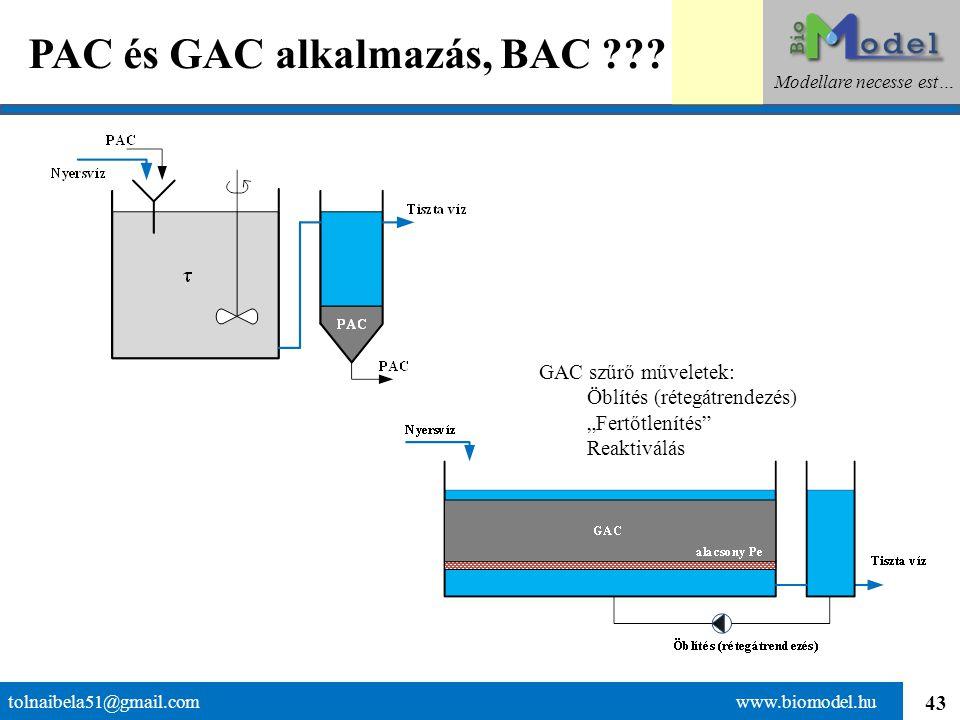 """43 PAC és GAC alkalmazás, BAC ??? tolnaibela51@gmail.com www.biomodel.hu Modellare necesse est… GAC szűrő műveletek: Öblítés (rétegátrendezés) """"Fertőt"""