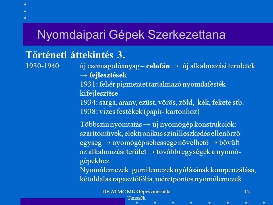 DE ATMC MK Gépészmérnöki Tanszék 12 1930-1940: új csomagolóanyag – celofán → új alkalmazási területek → fejlesztések 1931: fehér pigmentet tartalmazó