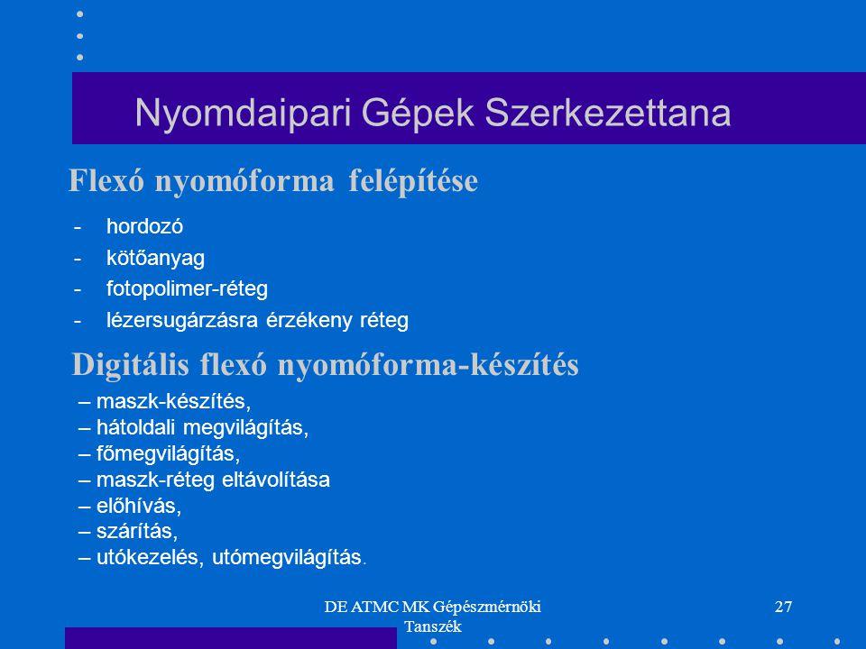 DE ATMC MK Gépészmérnöki Tanszék 27 Nyomdaipari Gépek Szerkezettana -hordozó -kötőanyag -fotopolimer-réteg -lézersugárzásra érzékeny réteg Flexó nyomóforma felépítése – maszk-készítés, – hátoldali megvilágítás, – főmegvilágítás, – maszk-réteg eltávolítása – előhívás, – szárítás, – utókezelés, utómegvilágítás.
