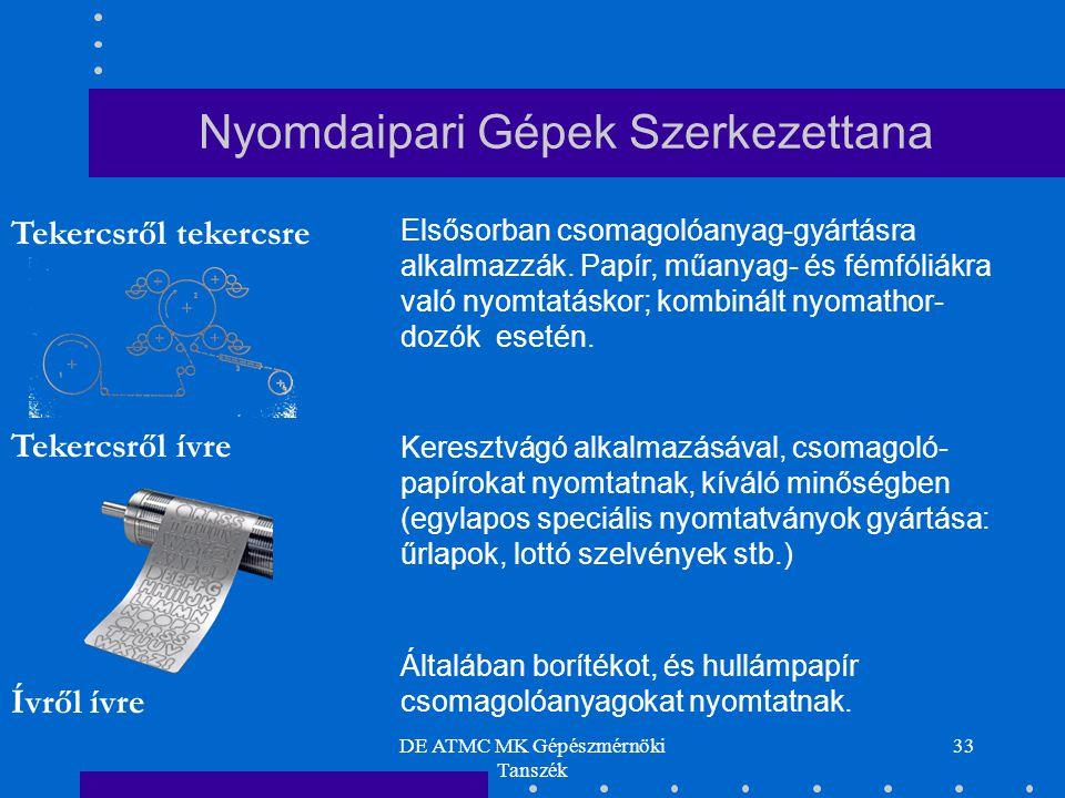 DE ATMC MK Gépészmérnöki Tanszék 33 Tekercsről tekercsre Tekercsről ívre Ívről ívre Elsősorban csomagolóanyag-gyártásra alkalmazzák. Papír, műanyag- é