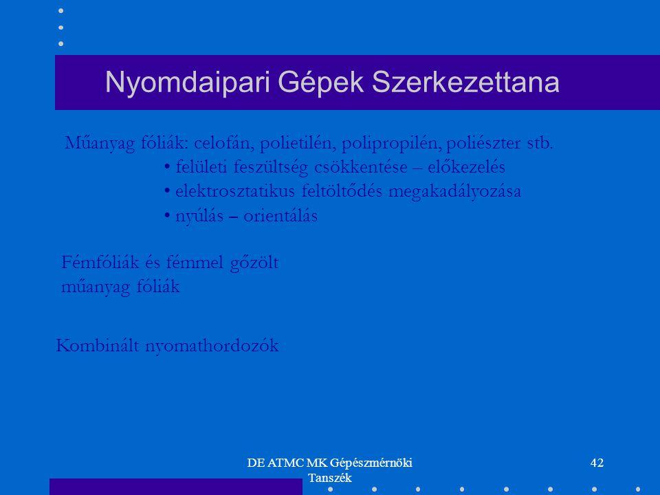 DE ATMC MK Gépészmérnöki Tanszék 42 Nyomdaipari Gépek Szerkezettana Műanyag fóliák: celofán, polietilén, polipropilén, poliészter stb. felületi feszül