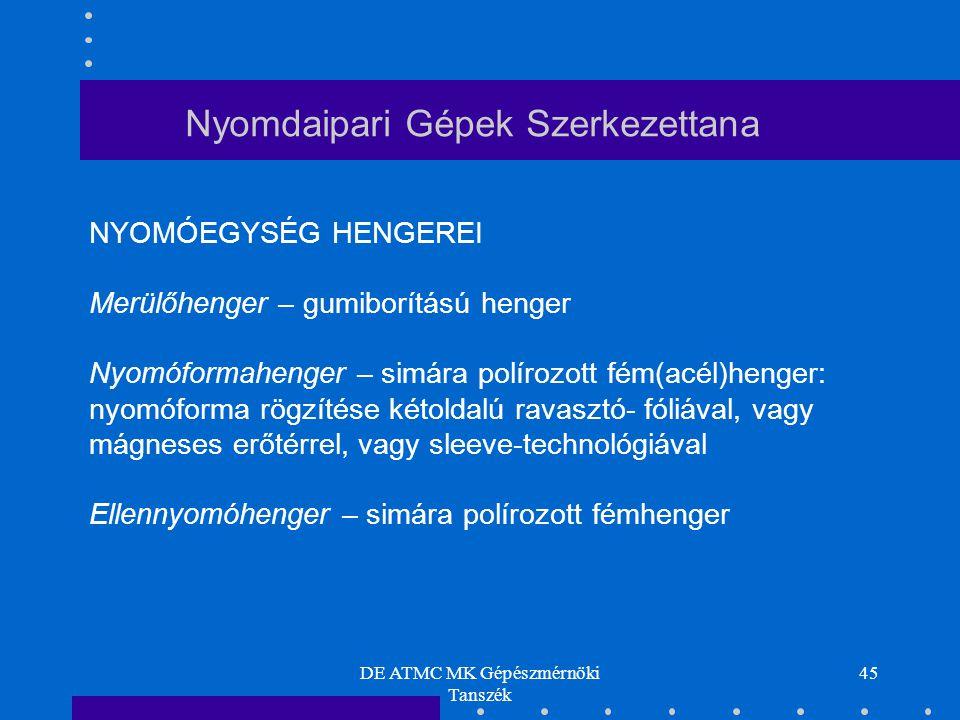 DE ATMC MK Gépészmérnöki Tanszék 45 Nyomdaipari Gépek Szerkezettana NYOMÓEGYSÉG HENGEREI Merülőhenger – gumiborítású henger Nyomóformahenger – simára