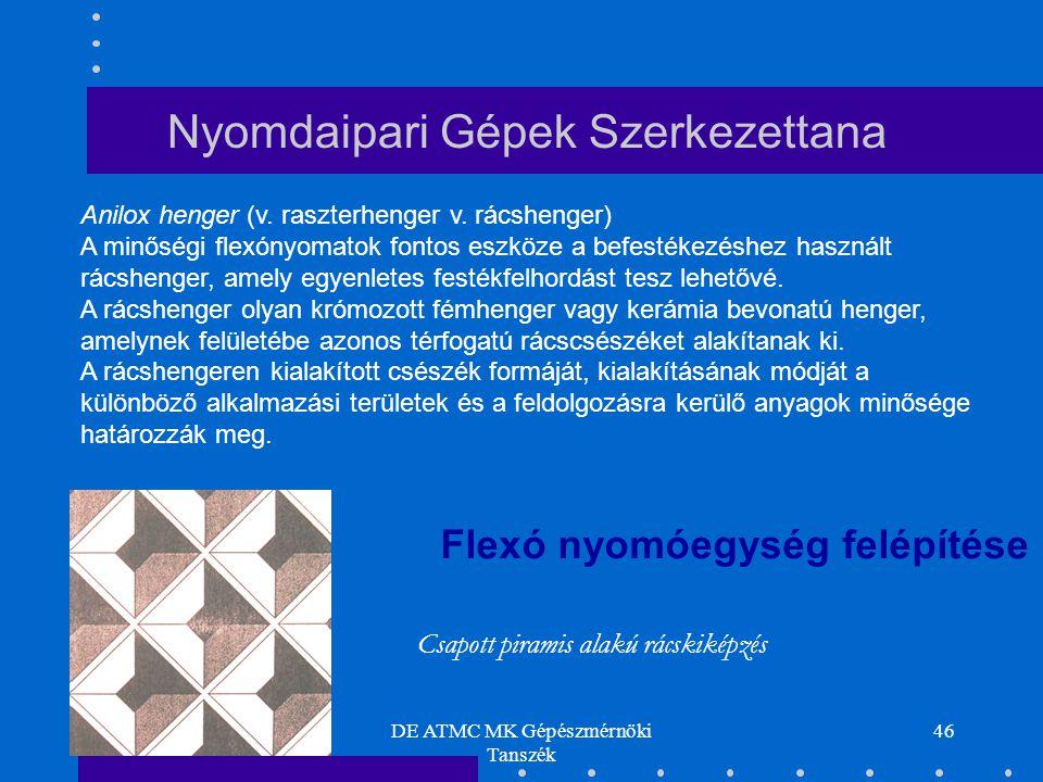 DE ATMC MK Gépészmérnöki Tanszék 46 Anilox henger (v. raszterhenger v. rácshenger) A minőségi flexónyomatok fontos eszköze a befestékezéshez használt