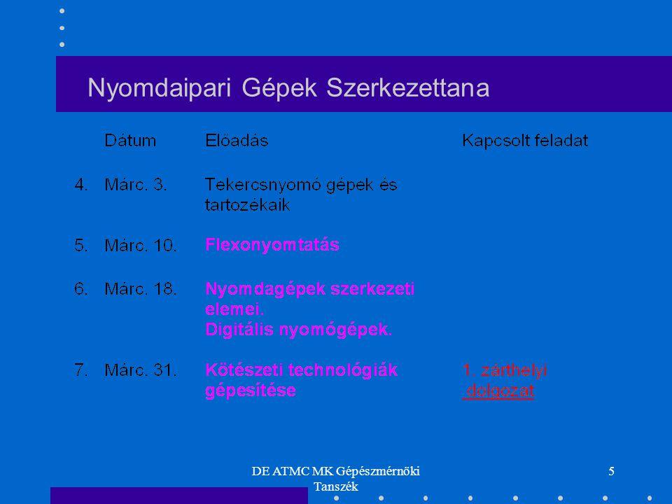 DE ATMC MK Gépészmérnöki Tanszék 16 Flexónyomtatás elve Nyomdaipari Gépek Szerkezettana