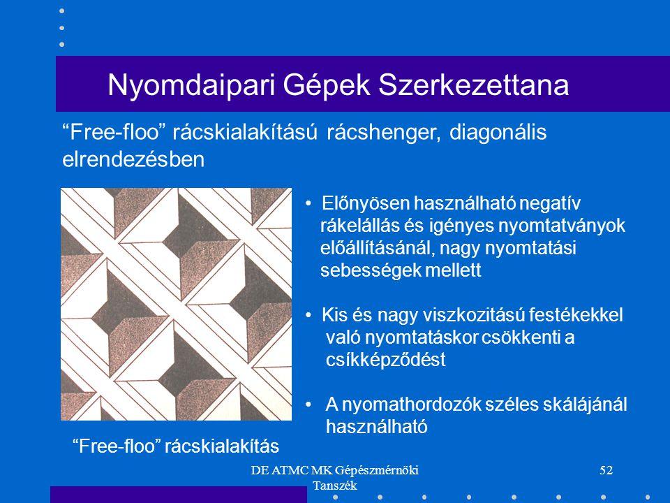 DE ATMC MK Gépészmérnöki Tanszék 52 Free-floo rácskialakítású rácshenger, diagonális elrendezésben Free-floo rácskialakítás Előnyösen használható negatív rákelállás és igényes nyomtatványok előállításánál, nagy nyomtatási sebességek mellett Kis és nagy viszkozitású festékekkel való nyomtatáskor csökkenti a csíkképződést A nyomathordozók széles skálájánál használható Nyomdaipari Gépek Szerkezettana
