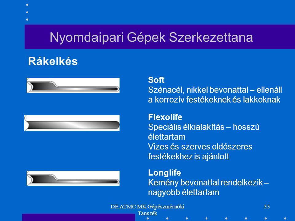 DE ATMC MK Gépészmérnöki Tanszék 55 Rákelkés Soft Szénacél, nikkel bevonattal – ellenáll a korrozív festékeknek és lakkoknak Flexolife Speciális élkia