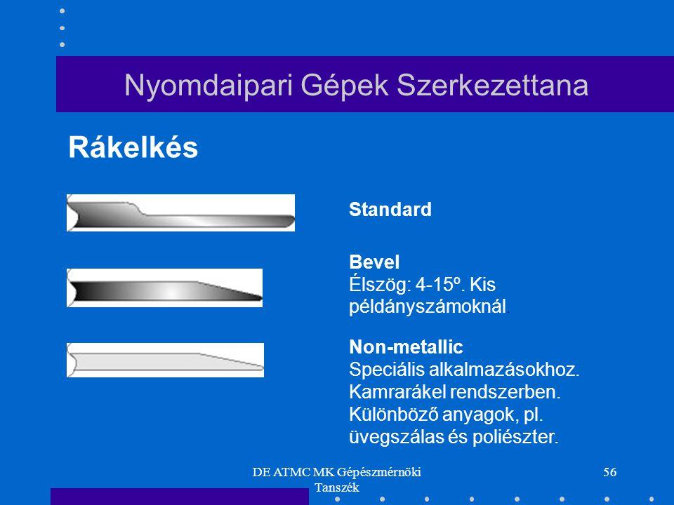 DE ATMC MK Gépészmérnöki Tanszék 56 Standard Bevel Élszög: 4-15º. Kis példányszámoknál. Non-metallic Speciális alkalmazásokhoz. Kamrarákel rendszerben