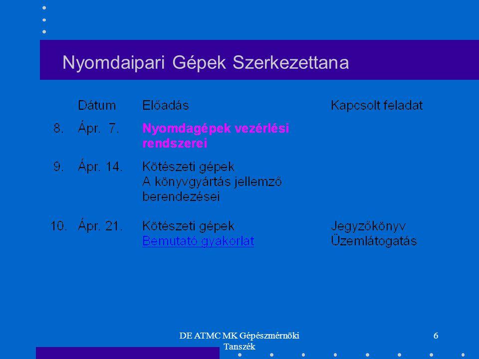 DE ATMC MK Gépészmérnöki Tanszék 57 Rákelkamra kialakítása Nyomdaipari Gépek Szerkezettana