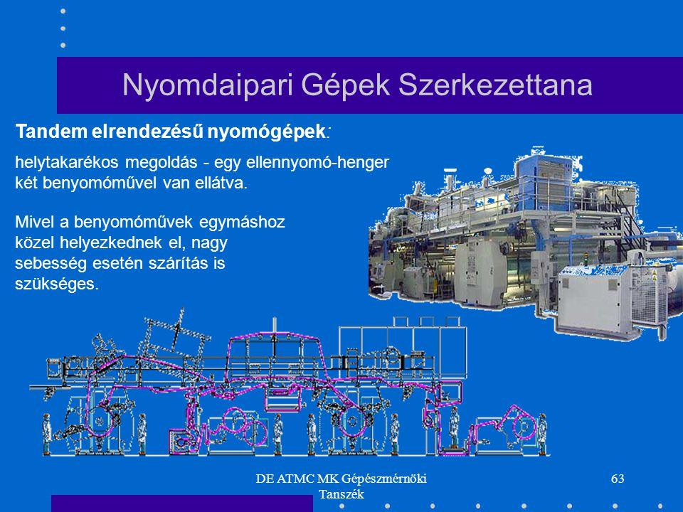 DE ATMC MK Gépészmérnöki Tanszék 63 Tandem elrendezésű nyomógépek: helytakarékos megoldás - egy ellennyomó-henger két benyomóművel van ellátva. Mivel