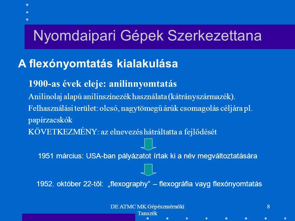 DE ATMC MK Gépészmérnöki Tanszék 8 Nyomdaipari Gépek Szerkezettana 1900-as évek eleje: anilinnyomtatás Anilinolaj alapú anilinszínezék használata (kátrányszármazék).