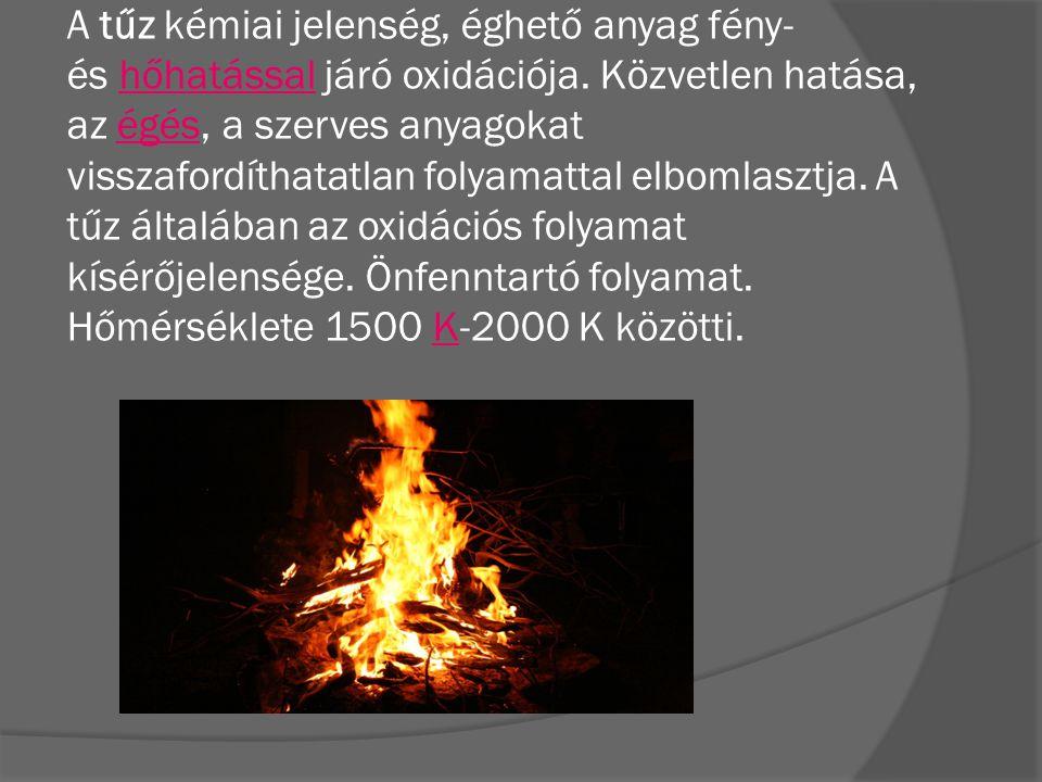 A tűz kémiai jelenség, éghető anyag fény- és hőhatással járó oxidációja. Közvetlen hatása, az égés, a szerves anyagokat visszafordíthatatlan folyamatt