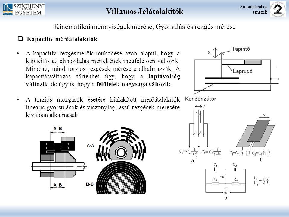 Villamos Jelátalakítók Automatizálási tanszék Kinematikai mennyiségek mérése, Gyorsulás és rezgés mérése  Kapacitív mérőátalakítók A kapacitív rezgés