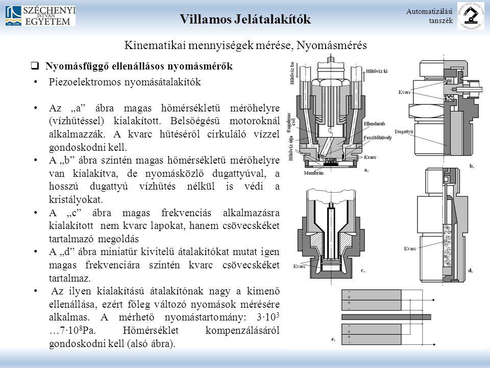 Villamos Jelátalakítók Automatizálási tanszék Kinematikai mennyiségek mérése, Nyomásmérés  Nyomásfüggő ellenállásos nyomásmérők Piezoelektromos nyomá