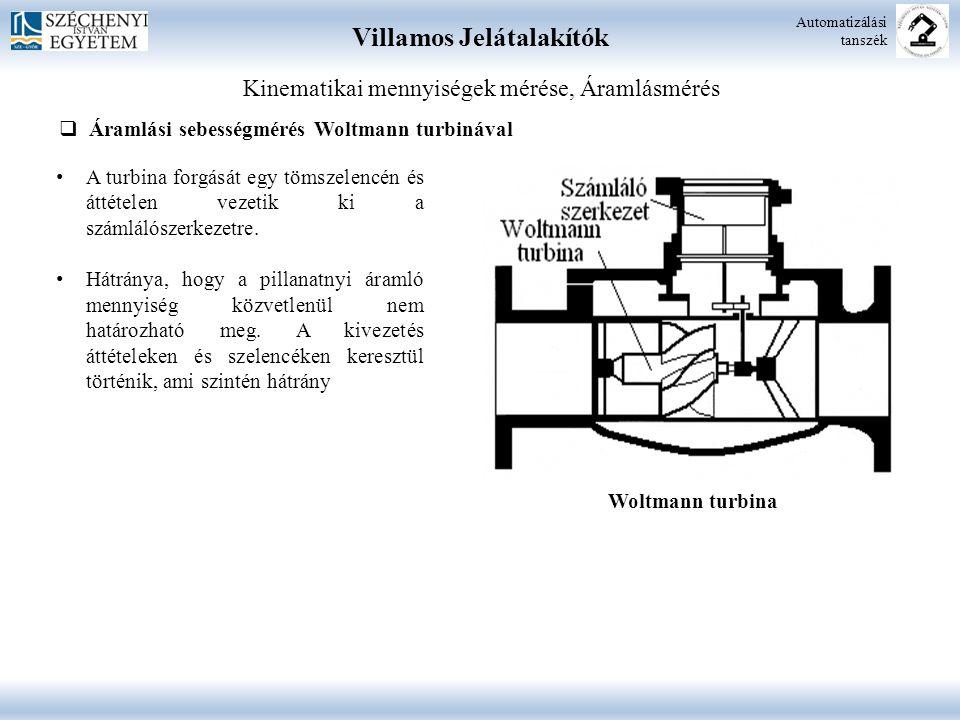 Villamos Jelátalakítók Automatizálási tanszék Kinematikai mennyiségek mérése, Áramlásmérés  Áramlási sebességmérés Woltmann turbinával A turbina forg