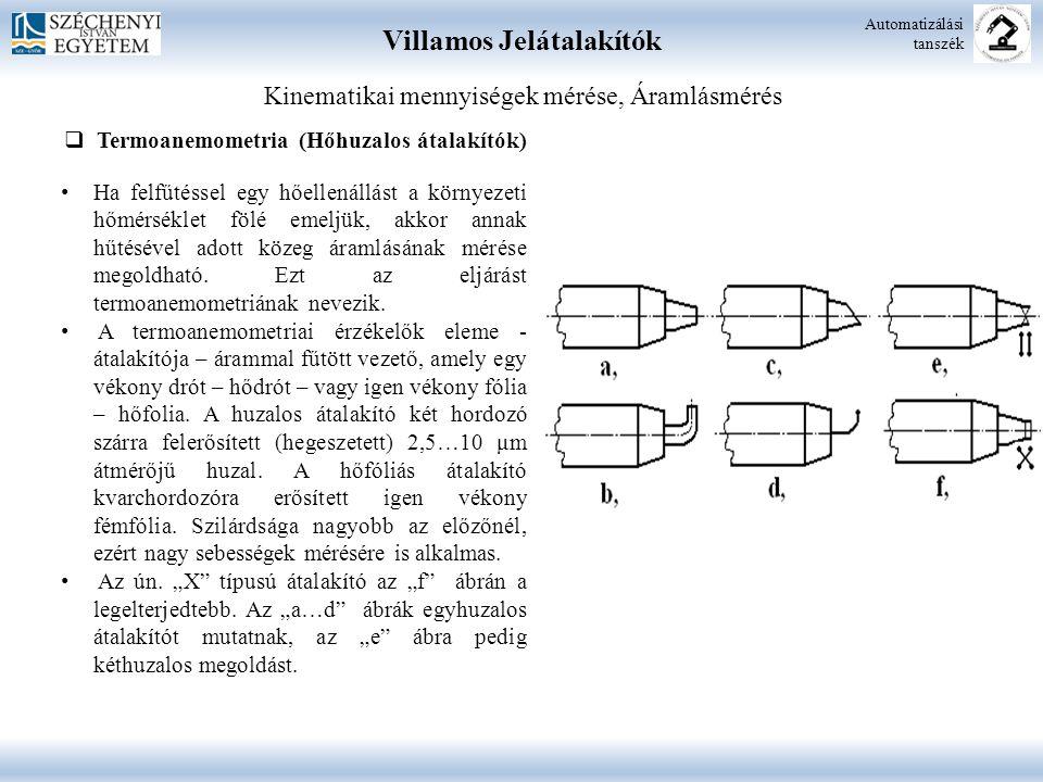 Villamos Jelátalakítók Automatizálási tanszék Kinematikai mennyiségek mérése, Áramlásmérés  Termoanemometria (Hőhuzalos átalakítók) Ha felfűtéssel eg