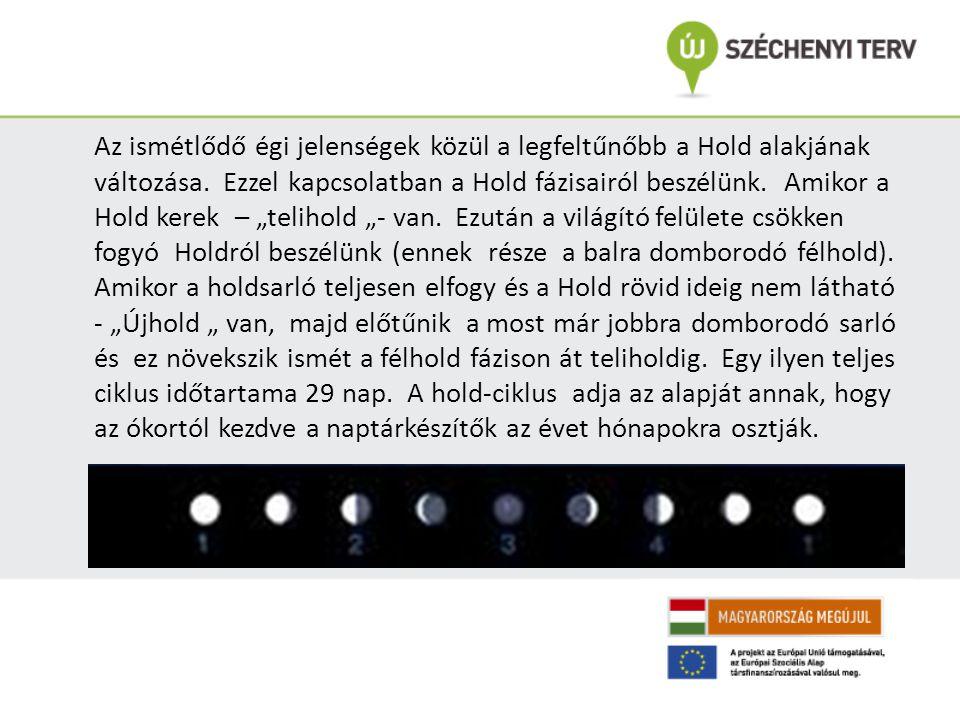 """Az ismétlődő égi jelenségek közül a legfeltűnőbb a Hold alakjának változása. Ezzel kapcsolatban a Hold fázisairól beszélünk. Amikor a Hold kerek – """"te"""