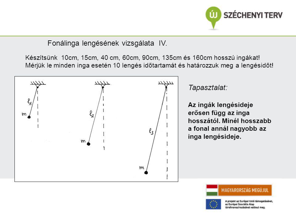 Fonálinga lengésének vizsgálata IV. Készítsünk 10cm, 15cm, 40 cm, 60cm, 90cm, 135cm és 160cm hosszú ingákat! Mérjük le minden inga esetén 10 lengés id