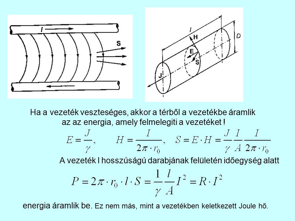 Ha a vezeték veszteséges, akkor a térből a vezetékbe áramlik az az energia, amely felmelegiti a vezetéket ! A vezeték l hosszúságú darabjának felületé
