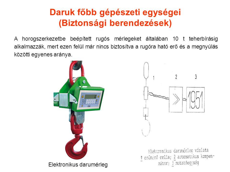 Daruk főbb gépészeti egységei (Biztonsági berendezések) A horogszerkezetbe beépített rugós mérlegeket általában 10 t teherbírásig alkalmazzák, mert ez