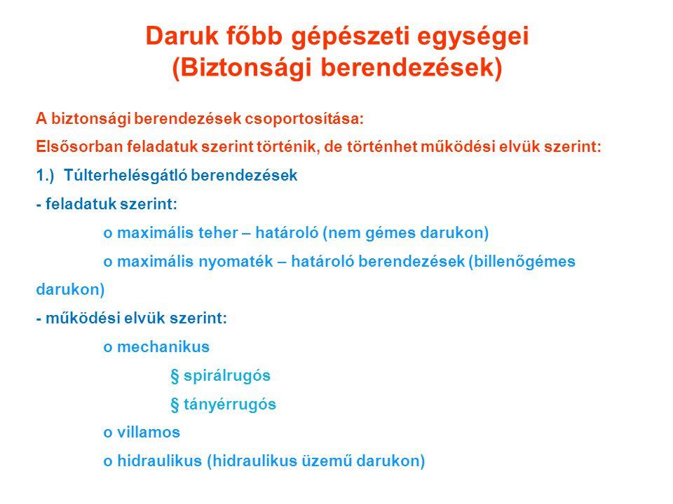 Daruk főbb gépészeti egységei (Biztonsági berendezések) A biztonsági berendezések csoportosítása: Elsősorban feladatuk szerint történik, de történhet