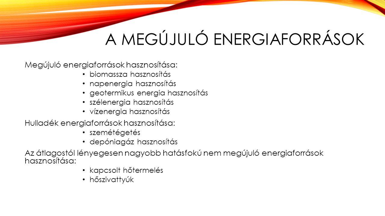 A MEGÚJULÓ ENERGIAFORRÁSOK Megújuló energiaforrások hasznosítása: biomassza hasznosítás napenergia hasznosítás geotermikus energia hasznosítás szélene