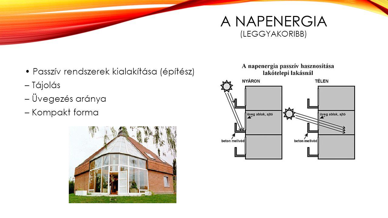 A NAPENERGIA (LEGGYAKORIBB) Passzív rendszerek kialakítása (építész) – Tájolás – Üvegezés aránya – Kompakt forma