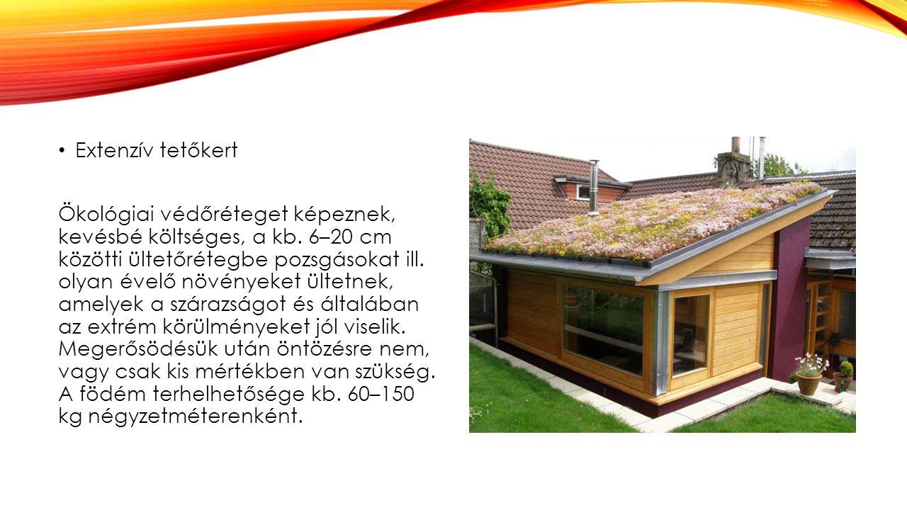 Extenzív tetőkert Ökológiai védőréteget képeznek, kevésbé költséges, a kb. 6–20 cm közötti ültetőrétegbe pozsgásokat ill. olyan évelő növényeket ültet
