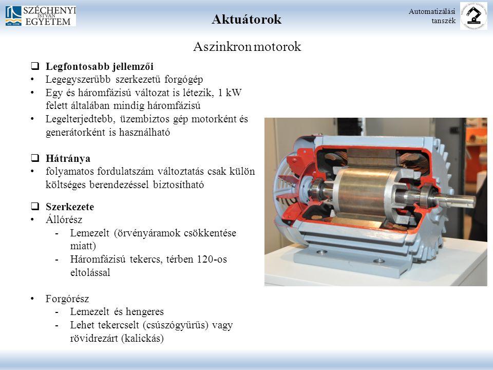 Aktuátorok Automatizálási tanszék Aszinkron motorok  Legfontosabb jellemzői Legegyszerűbb szerkezetű forgógép Egy és háromfázisú változat is létezik,