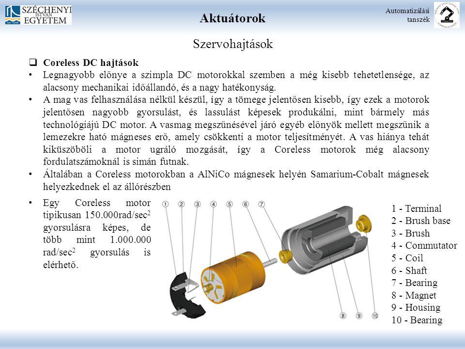 Aktuátorok Automatizálási tanszék Szervohajtások  Coreless DC hajtások Legnagyobb előnye a szimpla DC motorokkal szemben a még kisebb tehetetlensége,
