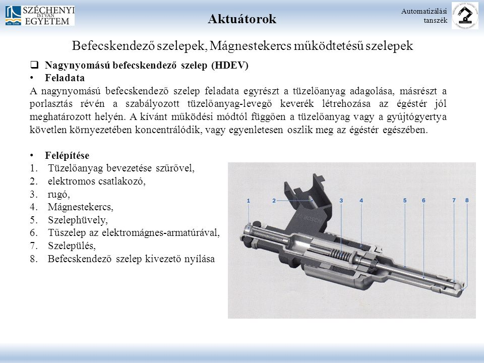 Aktuátorok Automatizálási tanszék Befecskendező szelepek, Mágnestekercs működtetésű szelepek  Nagynyomású befecskendező szelep (HDEV) Feladata A nagy