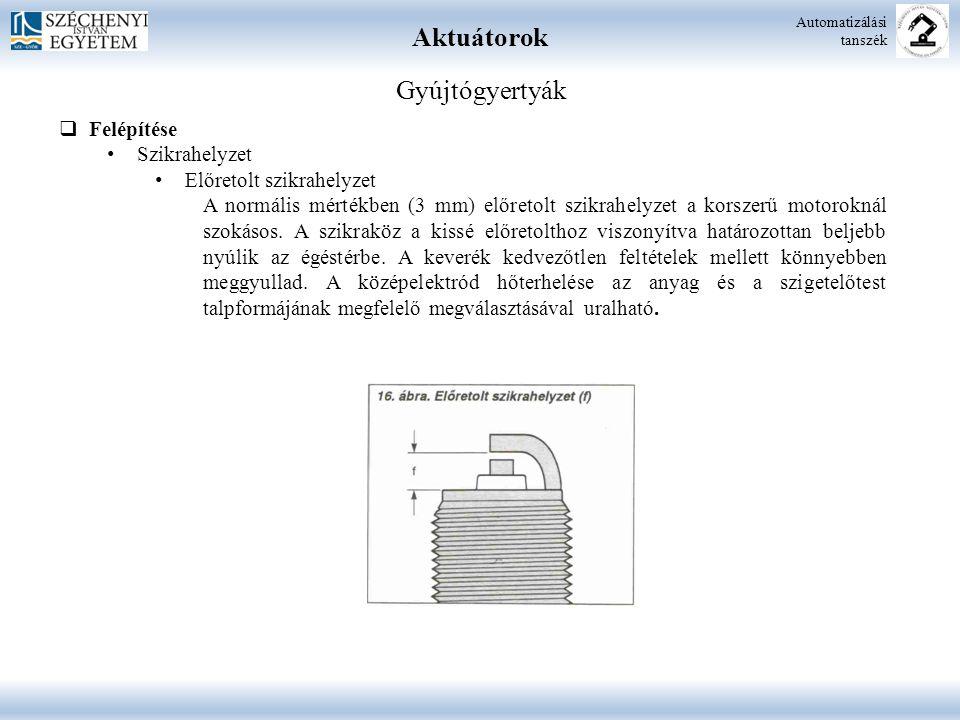 Aktuátorok Automatizálási tanszék Gyújtógyertyák  Felépítése Szikrahelyzet Előretolt szikrahelyzet A normális mértékben (3 mm) előretolt szikrahelyze