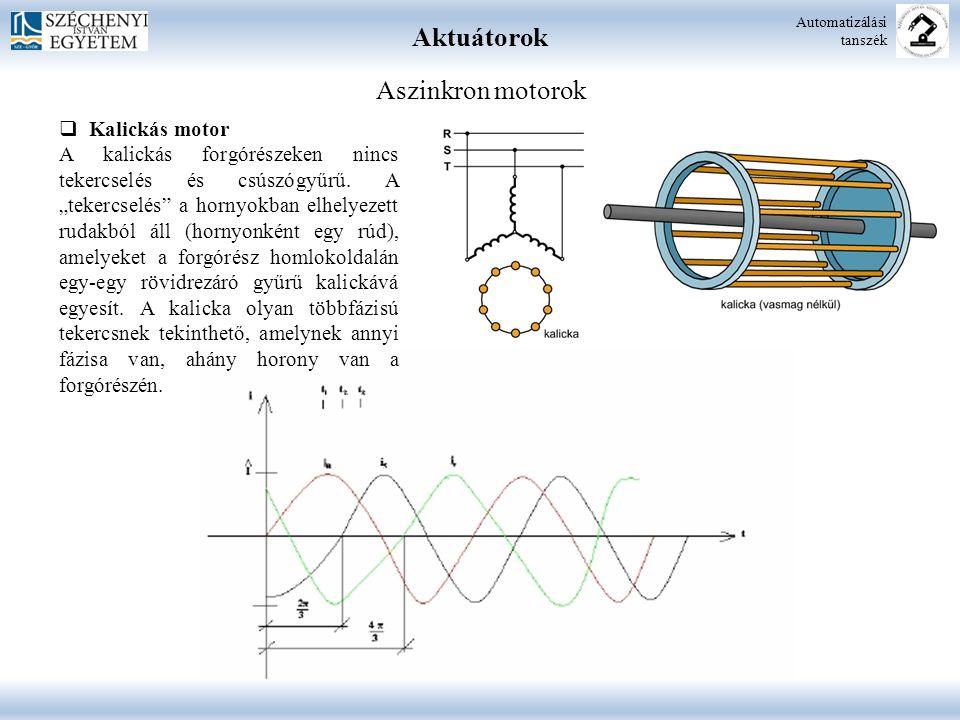 """Aktuátorok Automatizálási tanszék Aszinkron motorok  Kalickás motor A kalickás forgórészeken nincs tekercselés és csúszógyűrű. A """"tekercselés"""" a horn"""
