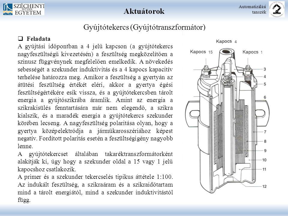 Aktuátorok Automatizálási tanszék Gyújtótekercs (Gyújtótranszformátor)  Feladata A gyújtási időpontban a 4 jelű kapcson (a gyújtótekercs nagyfeszülts