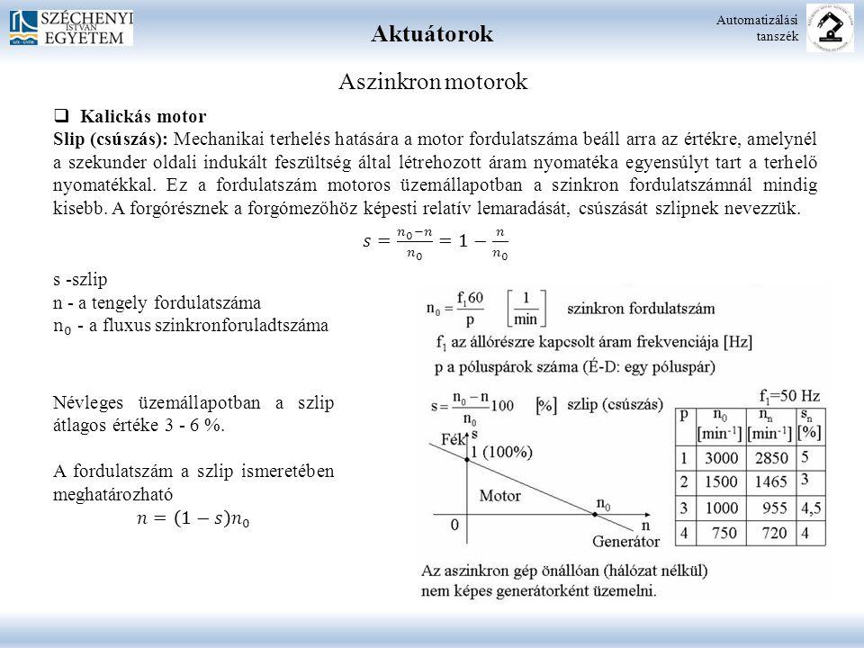 Aktuátorok Automatizálási tanszék Aszinkron motorok  M i : indítási nyomaték  M b : billenő vagy maximális nyomaték  M t : terhelő nyomaték  n 0 : szinkron fordulatszám  s B : billenő szlip  Kalickás motor Nyomaték-fordulatszám jelleggörbe: