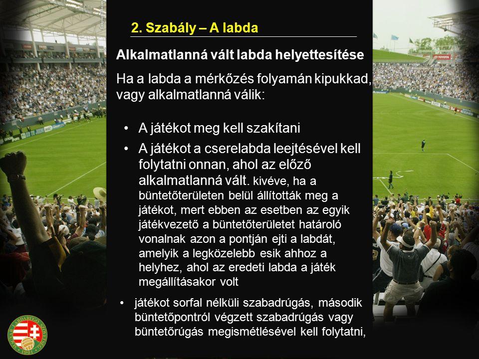 2. Szabály – A labda Alkalmatlanná vált labda helyettesítése Ha a labda a mérkőzés folyamán kipukkad, vagy alkalmatlanná válik: A játékot meg kell sza