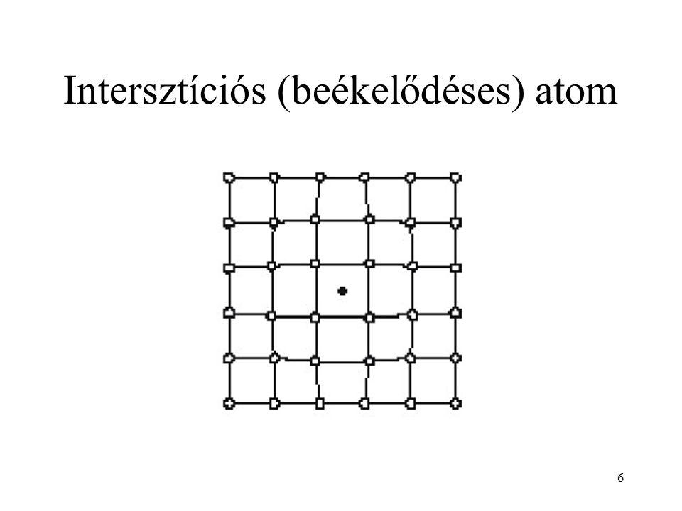 7 Ponthiba képződési mechanizmusok Frenkel-mechanizmus Frenkel hibapár: vakancia és intersztíciós atom együttese