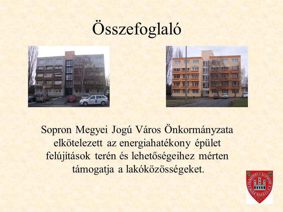 Összefoglaló Sopron Megyei Jogú Város Önkormányzata elkötelezett az energiahatékony épület felújítások terén és lehetőségeihez mérten támogatja a lakóközösségeket.