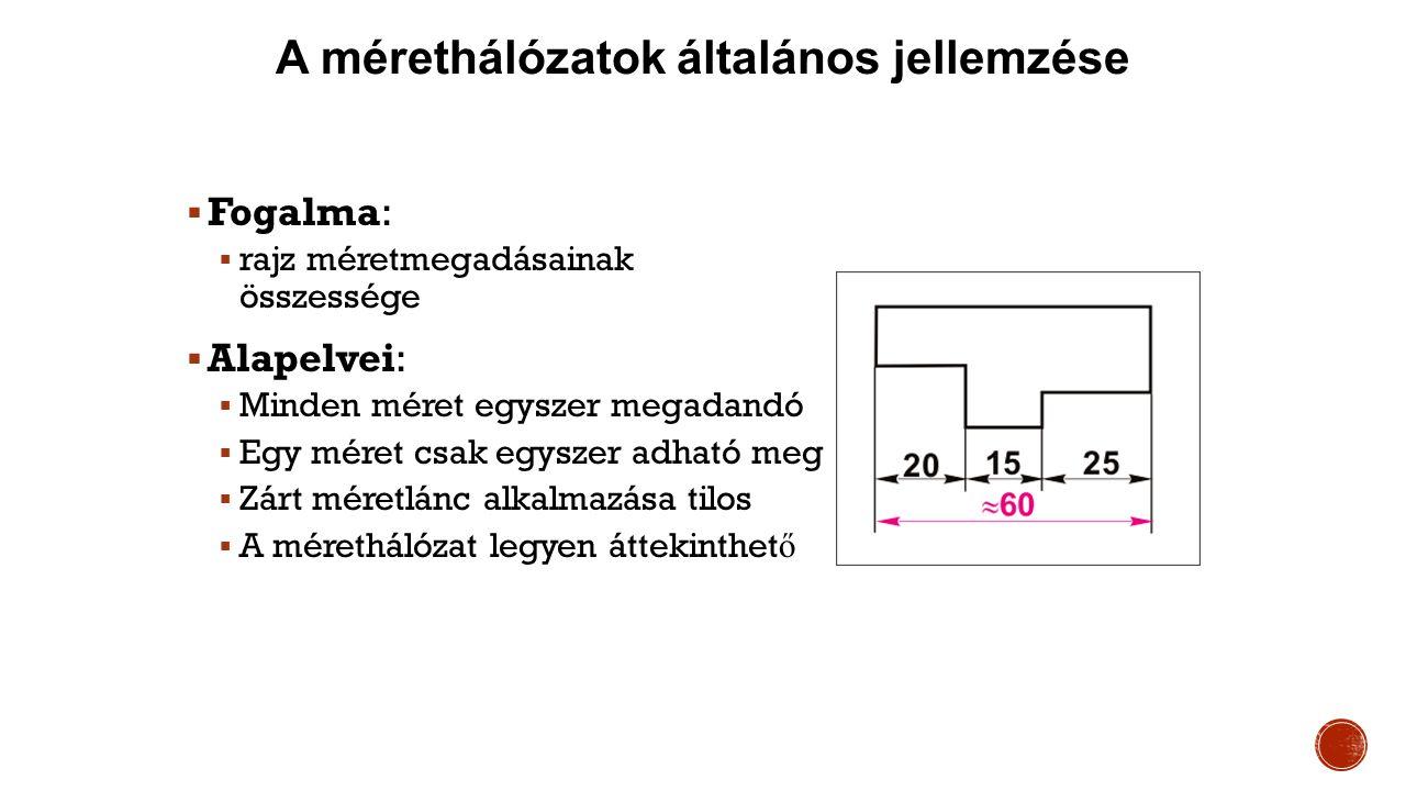 A mérethálózatok általános jellemzése  Fogalma:  rajz méretmegadásainak összessége  Alapelvei:  Minden méret egyszer megadandó  Egy méret csak egyszer adható meg  Zárt méretlánc alkalmazása tilos  A mérethálózat legyen áttekinthet ő