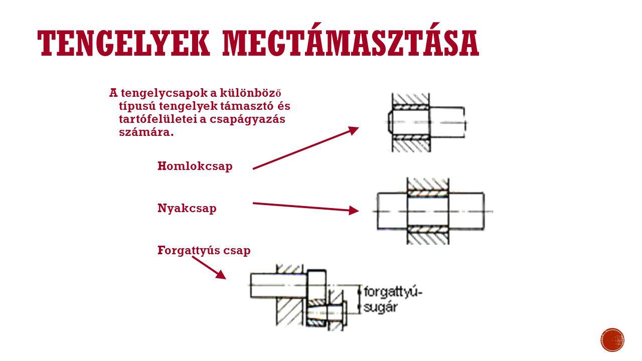 TENGELYEK MEGTÁMASZTÁSA A tengelycsapok a különböz ő típusú tengelyek támasztó és tartófelületei a csapágyazás számára.