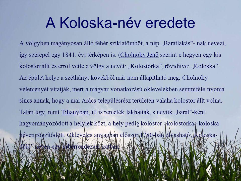 """A Koloska-név eredete A völgyben magányosan álló fehér sziklatömböt, a nép """"Barátlakás""""- nak nevezi, így szerepel egy 1841. évi térképen is. (Cholnoky"""