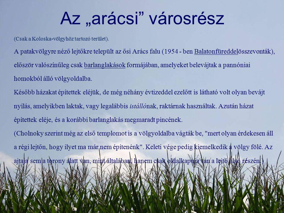 """Az """"arácsi"""" városrész (Csak a Koloska-völgyhöz tartozó terület). A patakvölgyre néző lejtőkre települt az ősi Arács falu (1954 - ben Balatonfüreddelös"""