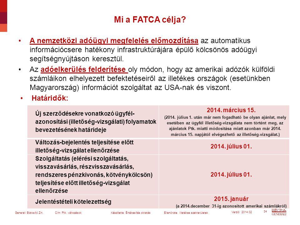 34 Generali Biztosító Zrt. Cím: Ptk. változások Készítette: Értékesítés oktatásEllenőrizte: Illetékes szakterületek Verzió: 2014.02 Mi a FATCA célja?