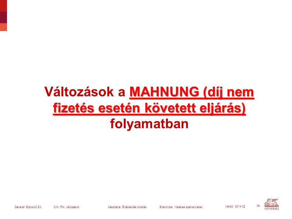 39 Generali Biztosító Zrt. Cím: Ptk. változások Készítette: Értékesítés oktatásEllenőrizte: Illetékes szakterületek Verzió: 2014.02 MAHNUNG (díj nem f