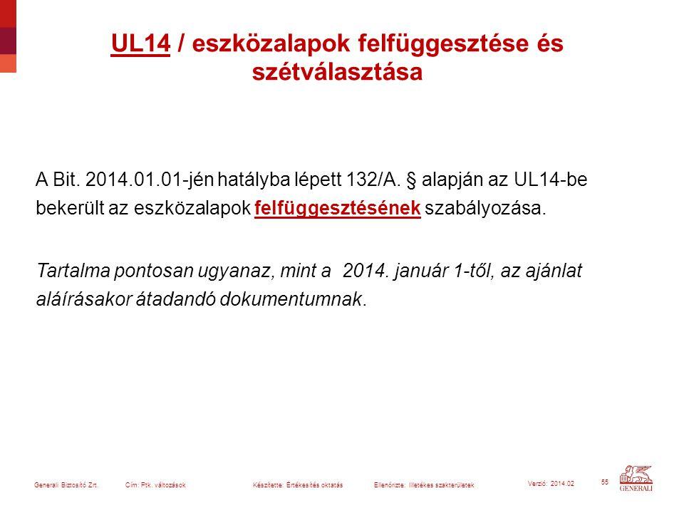 55 Generali Biztosító Zrt. Cím: Ptk. változások Készítette: Értékesítés oktatásEllenőrizte: Illetékes szakterületek Verzió: 2014.02 A Bit. 2014.01.01-