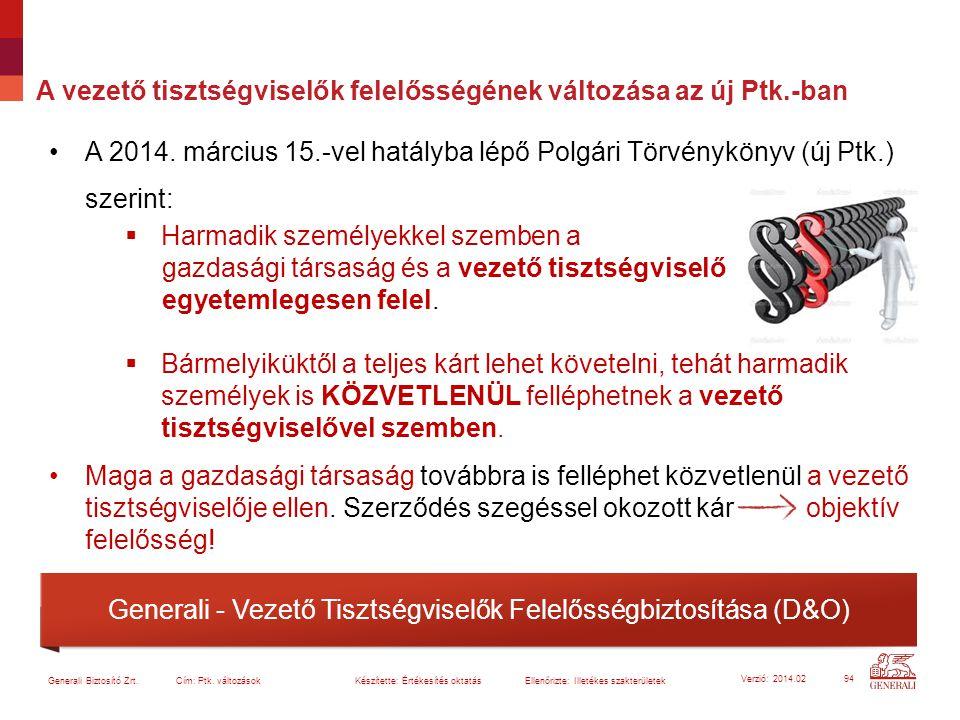 A vezető tisztségviselők felelősségének változása az új Ptk.-ban A 2014. március 15.-vel hatályba lépő Polgári Törvénykönyv (új Ptk.) szerint:  Harma
