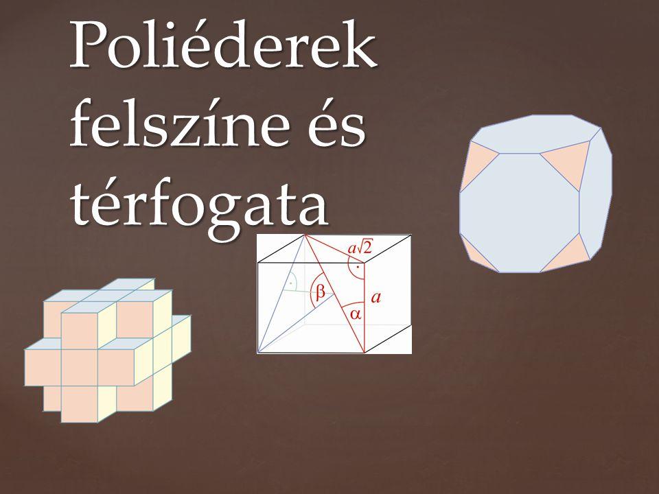 Poliédernek nevezünk egy testet, ha azt véges sok sokszög határolja.