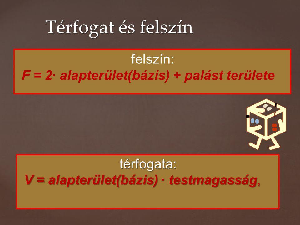 térfogata: V = alapterület(bázis) · testmagasság, V = alapterület(bázis) · testmagasság, Térfogat és felszín felszín: F = 2· alapterület(bázis) + palást területe